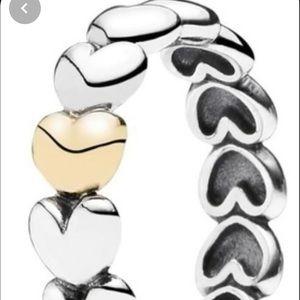 Pandora 2-tone heart ring